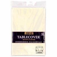 "Plastic Tablecover 54""X108"" Vanilla Creme"