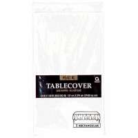 "Plastic Tablecover 54""X108"" White"