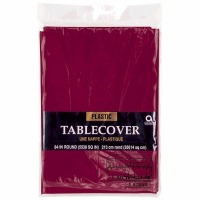 "Plastic Tablecover 84"" Round Berry"