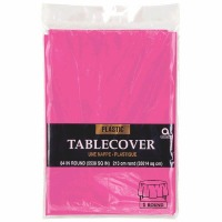 "Plastic Tablecover 84"" Round Brigh Pink"