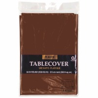"Plastic Tablecover 84"" Round Brown"