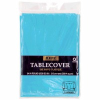 "Plastic Tablecover 84"" Round Caribbean Blue"