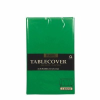 "Plastic Tablecover 84"" Round Fest Green"