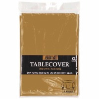 "Plastic Tablecover 84"" Round Gold"