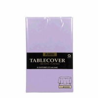 "Plastic Tablecover 84"" Round Lavender"