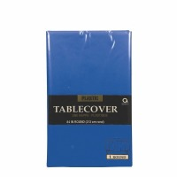 "Plastic Tablecover 84"" Round Navy Blue"