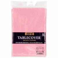 "Plastic Tablecover 84"" Round New Pink"