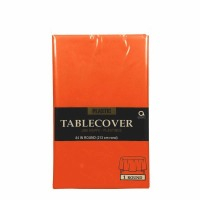 "Plastic Tablecover 84"" Round Orange"