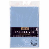 "Plastic Tablecover 84"" Round Past Blue"