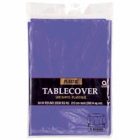 "Plastic Tablecover 84"" Round Purple"