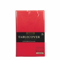 "Plastic Tablecover 84"" Round Red"