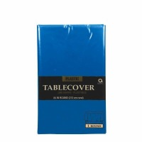 "Plastic Tablecover 84"" Round Royal Blue"