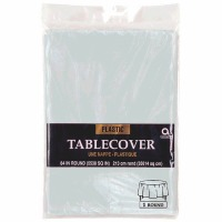 """Plastic Tablecover 84"""" Round Silver"""
