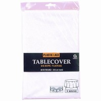 "Plastic Tablecover 84"" Round White Lace"