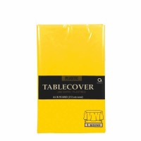 "Plastic Tablecover 84"" Round Yellow"