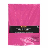 "Plastic Table Skirt 14'X29"" Bright Pink"