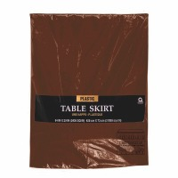 "Plastic Table Skirt 14'X29"" Brown"