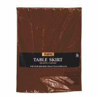 "Plastic Table Skirt 14'X29"" Brown"
