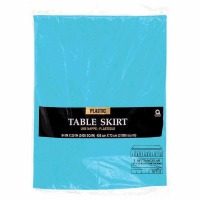 "Plastic Table Skirt 14'X29"" Caribbean Blue"