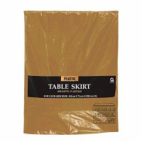 "Plastic Table Skirt 14'X29"" Gold"