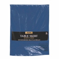 "Plastic Table Skirt 14'X29"" Navy Blue"