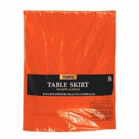 "Plastic Table Skirt 14'X29"" Orange"