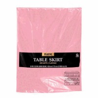 "Plastic Table Skirt 14'X29"" Pink"
