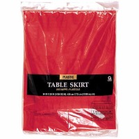 "Plastic Table Skirt 14'X29"" Red"