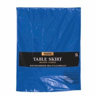 "Plastic Table Skirt 14'X29"" Royal Blue"