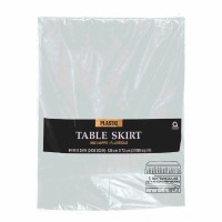 "Plastic Table Skirt 14'X29"" Silver"