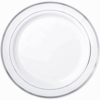 "10.25"" Plate Silver Trim 12 CT"