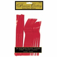 Premium Cutlery 24 CT Red