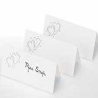 Silver Heart Placecards 40 CT