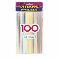 Striped Plastic Straws 100 ct.