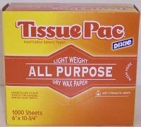 "Tissue Sheets Waxed 6""x10.75"""