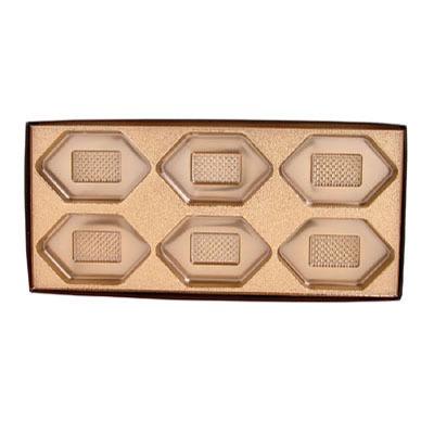 Brown Box Clear Lid 6 Cavity