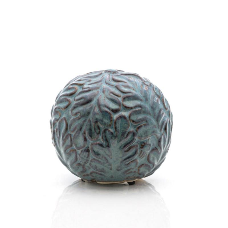 Ceramic Floral Blue Sphere