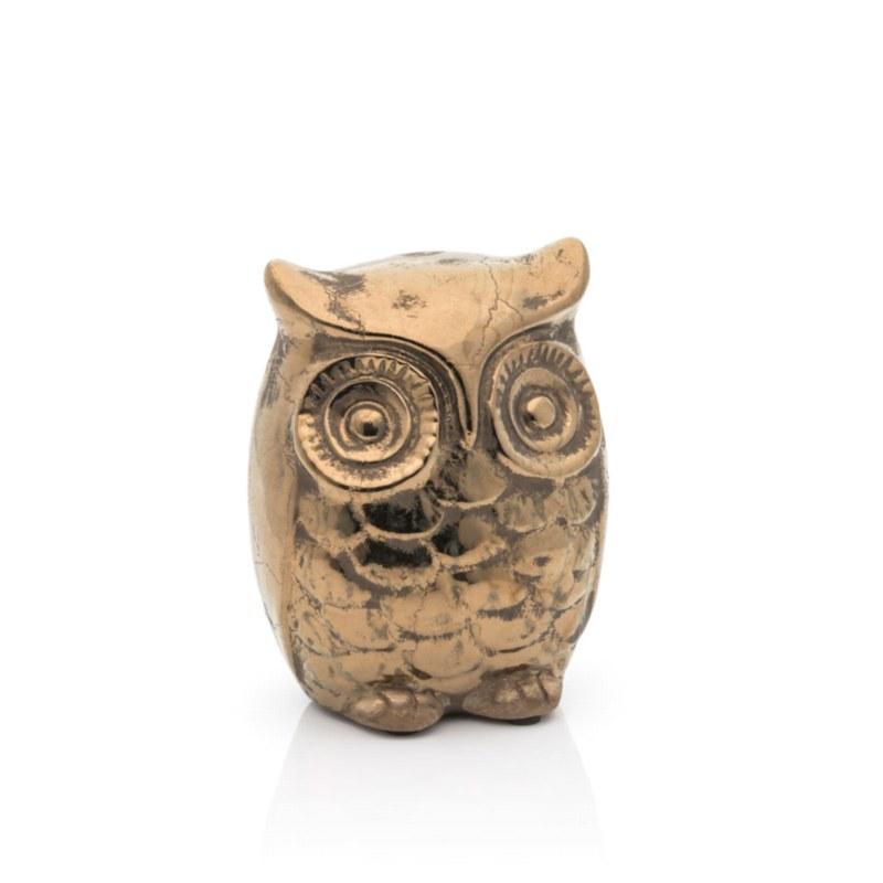 Ceramic Gold Owl