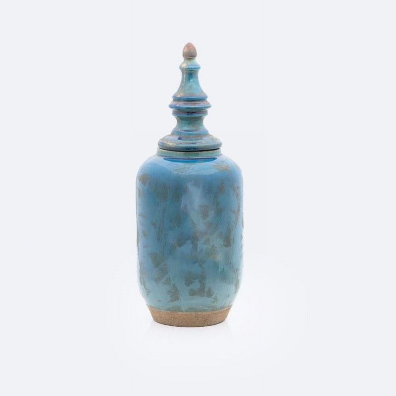 Ceramic Stone Blue Jar w/Lid