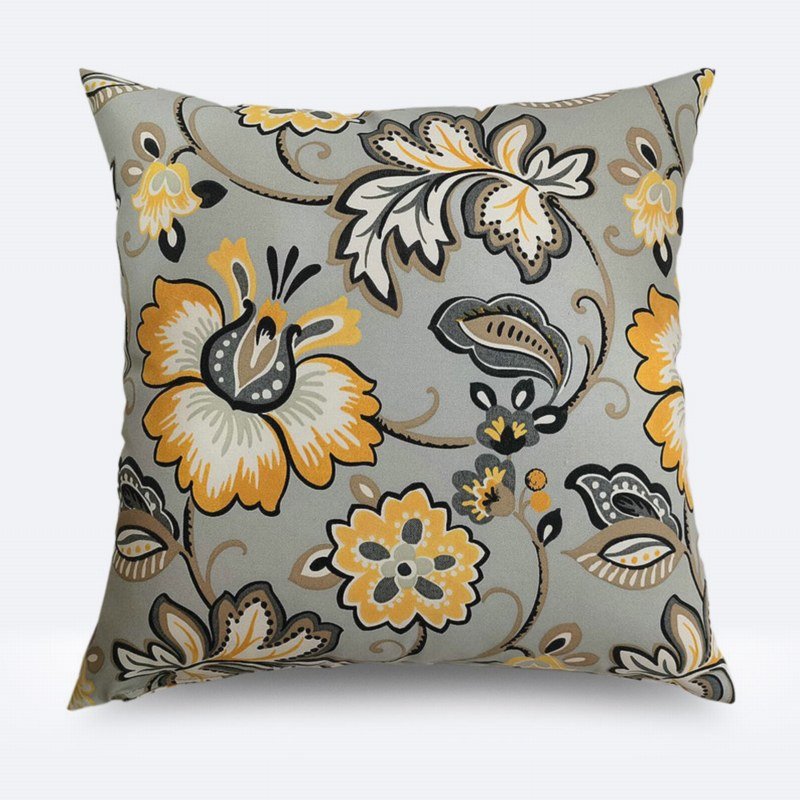 Throw Pillow - Orange/Grey Floral Print