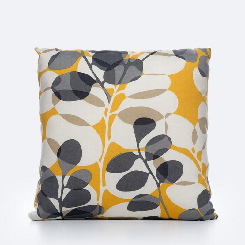 Throw Pillow - Orange/Grey Leaf Print