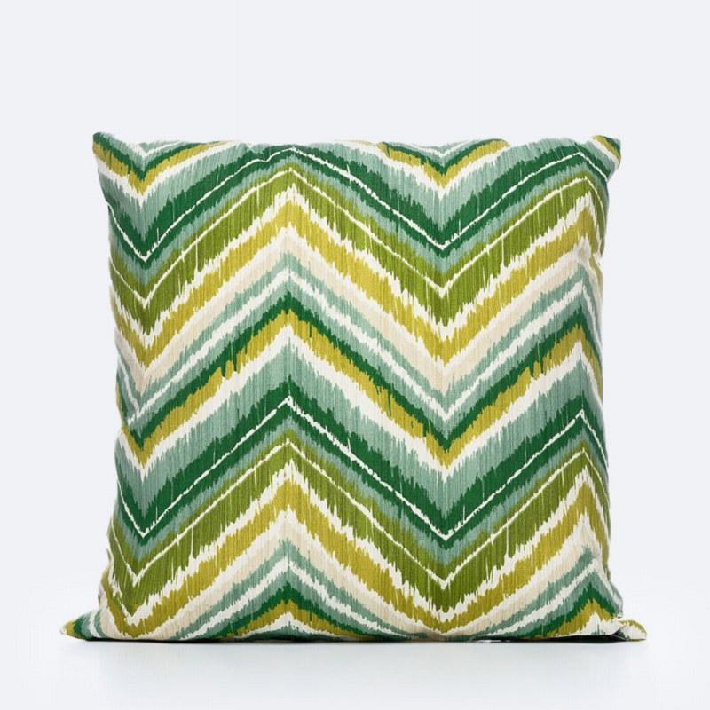 Throw Pillow - Green/Yellow Zig Zag