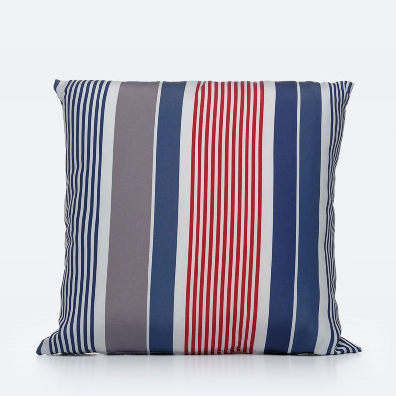 Throw Pillow - Blue, Grey & Coral Striped