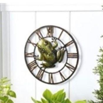 Metal Frog Outdoor Wall Clock