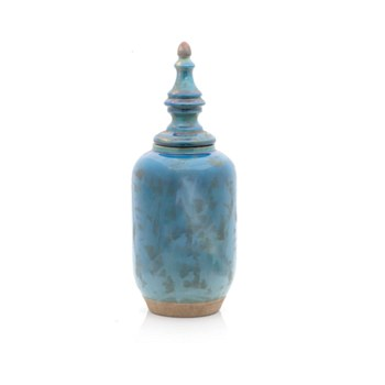 Ceramic Stone Blue Jar w/Lid