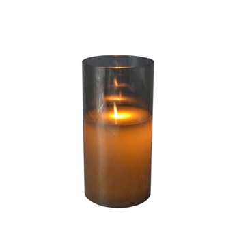 LED Candle w/Tinted Glass-Sm