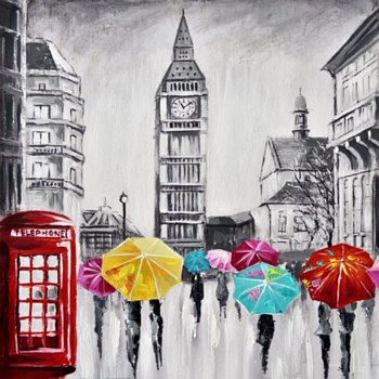 Oil Painting - London Rainy Day