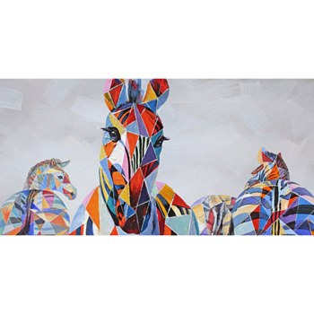 Oil Painting-Geometric Zebras