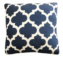 Throw Pillow - Navy Quatrefoil