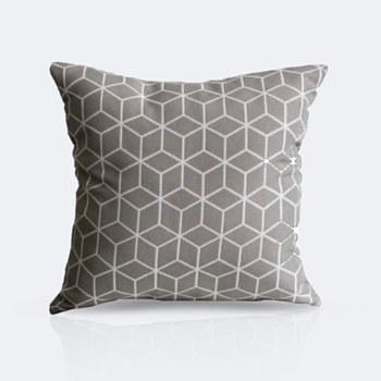 Throw Pillow - Grey Cubes